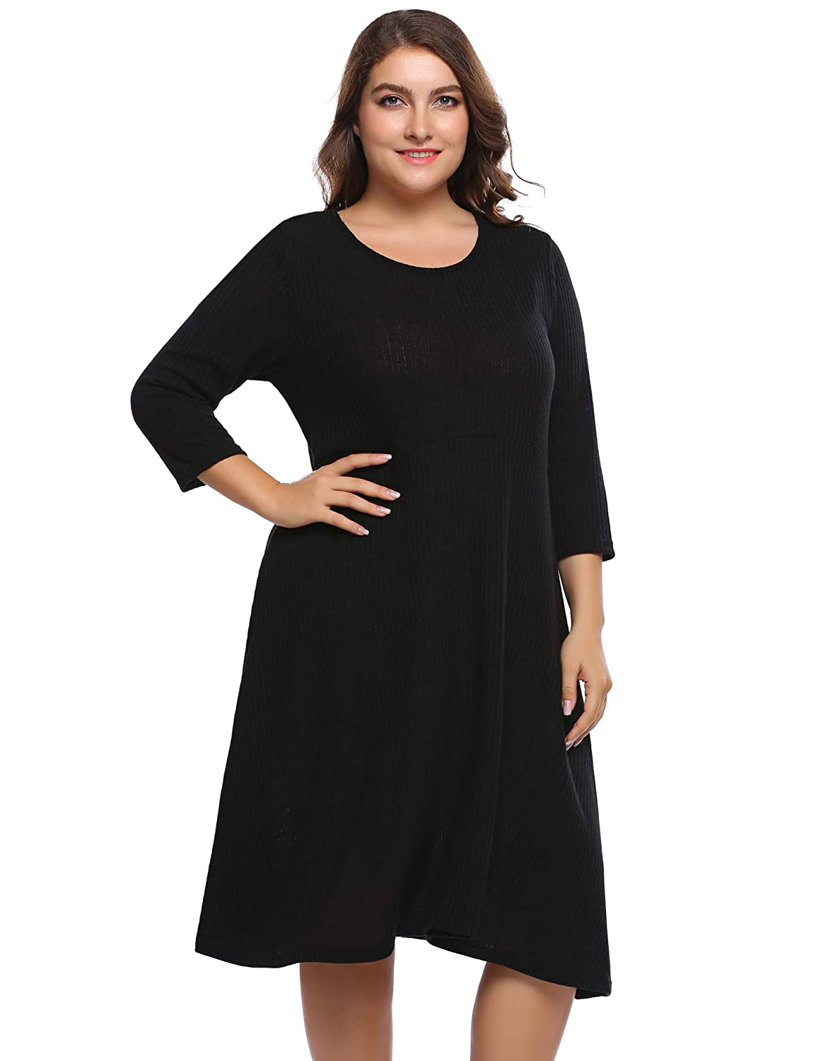 IN\'VOLAND Plus Size Women Long Sleeve A-Line Dresses Casual Loose Soft  Stretchy Swing T-Shirt Dress