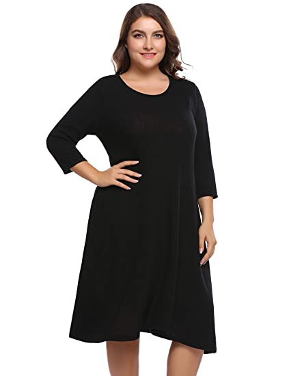 Involand Plus Size Women Long Sleeve A Line Dresses Casual Loose