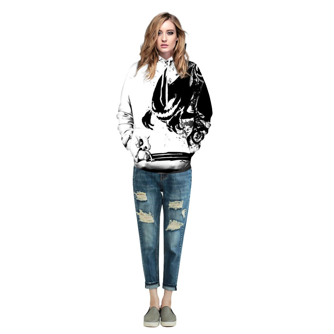 Azuki Hoodies and Sweatshirts Unisex Creative Printed Front Pockets Pullover Hooded S-XL