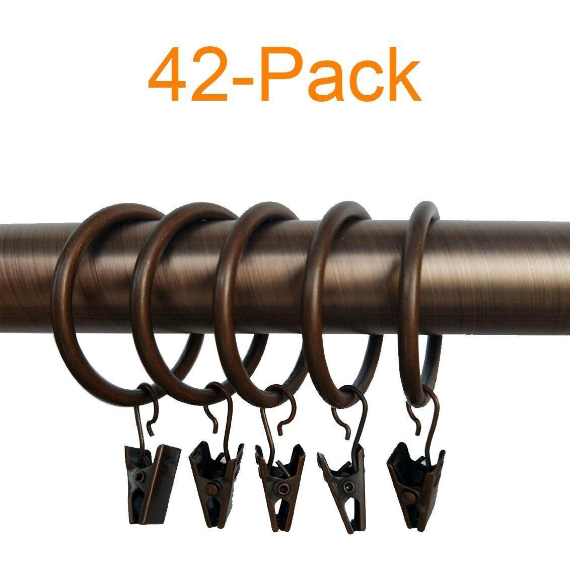 LiangTing 1.5'' Diameter Decorative Copper Matte Metal Curtain Clip Ring Set of 42