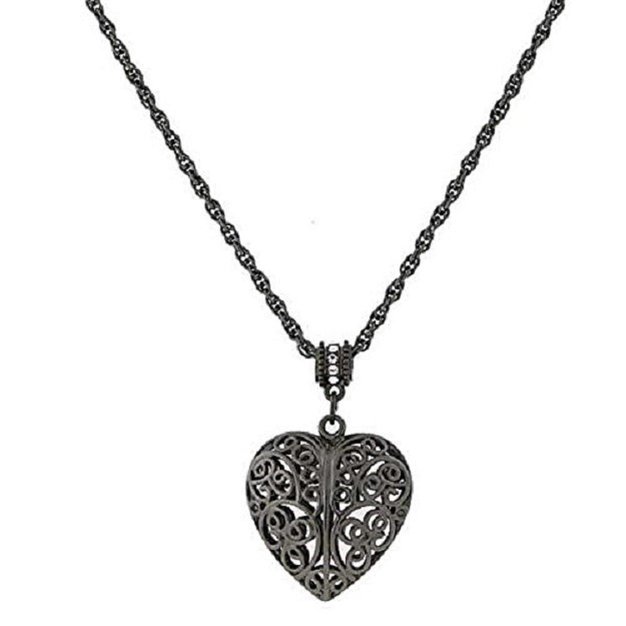 1928 Jewelry 18 Adjustable Jet Black Filigree Heart Pendant