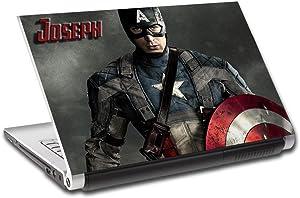 "Captain America Avengers Personalized LAPTOP Skin Vinyl Decal Sticker NAME L206, 15.6"""