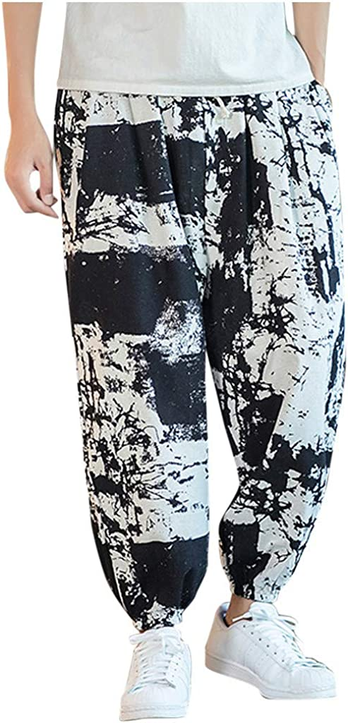 Longra Invierno Otoño Paño Pantalones de Color Puro para Casual Estilo Vintage Algodón Suelto Lino Impresión Hombre Popular