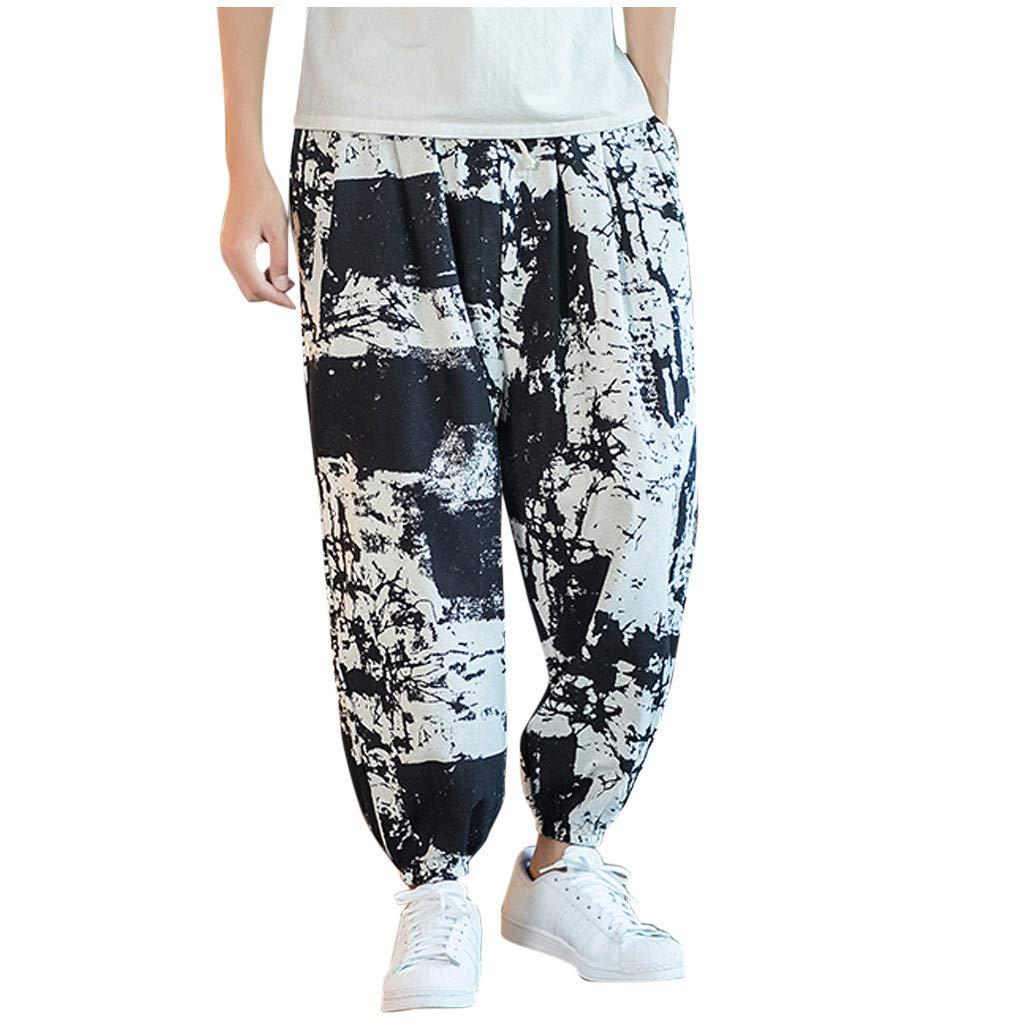 FEDULK Men's Vintage Lantern Pant Plus Size Retro Ethnic Print Cotton Linen Holiday Casual Baggy Trousers(Black, Medium) by FEDULK