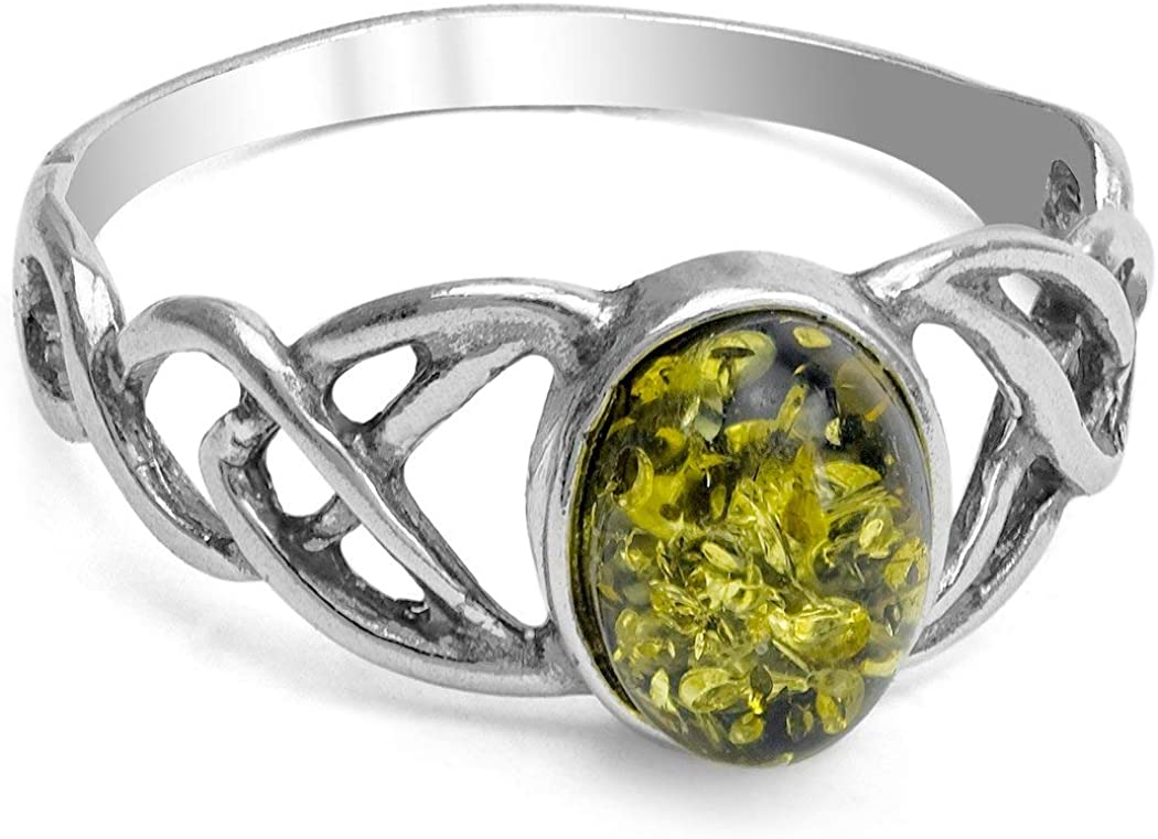 Green Amber Sterling Silver Celtic Oval Ring