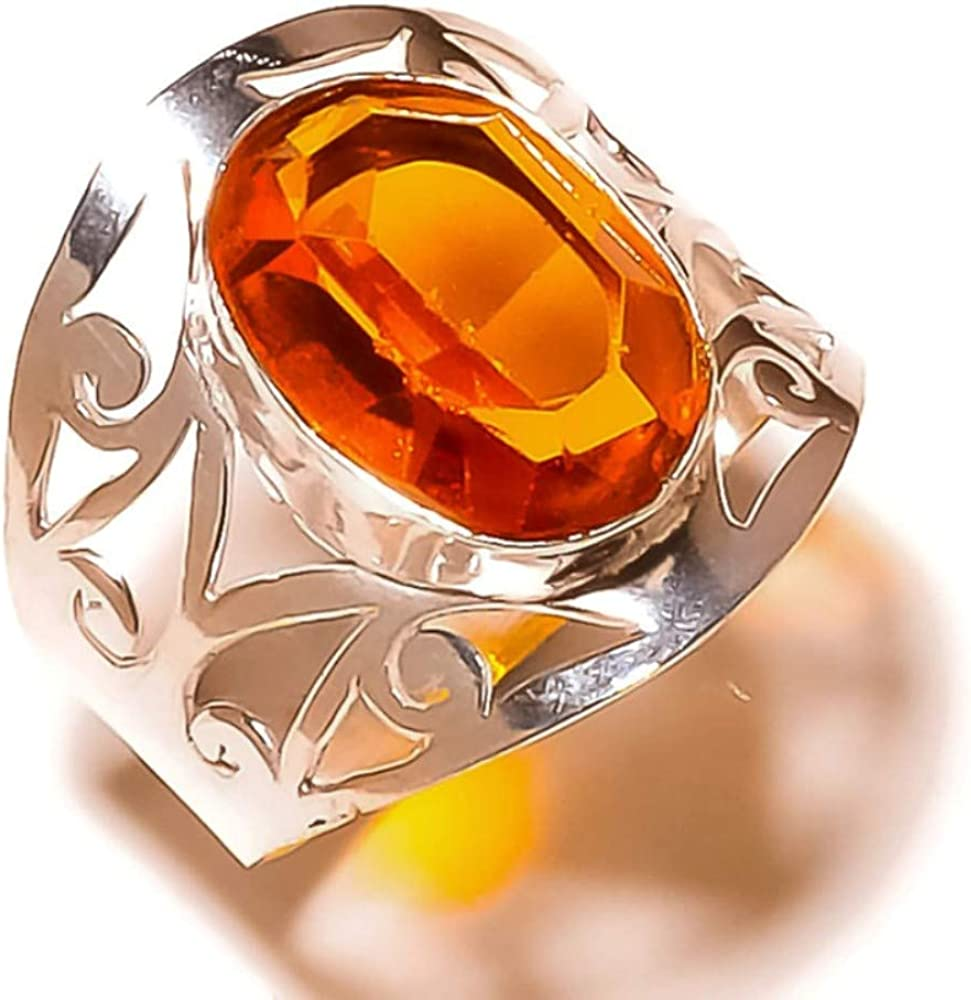 Jewels House Whisky Quartz Oval Cut Gemstone Silver Plated Handmade Statement Filigree Ring US-8.5