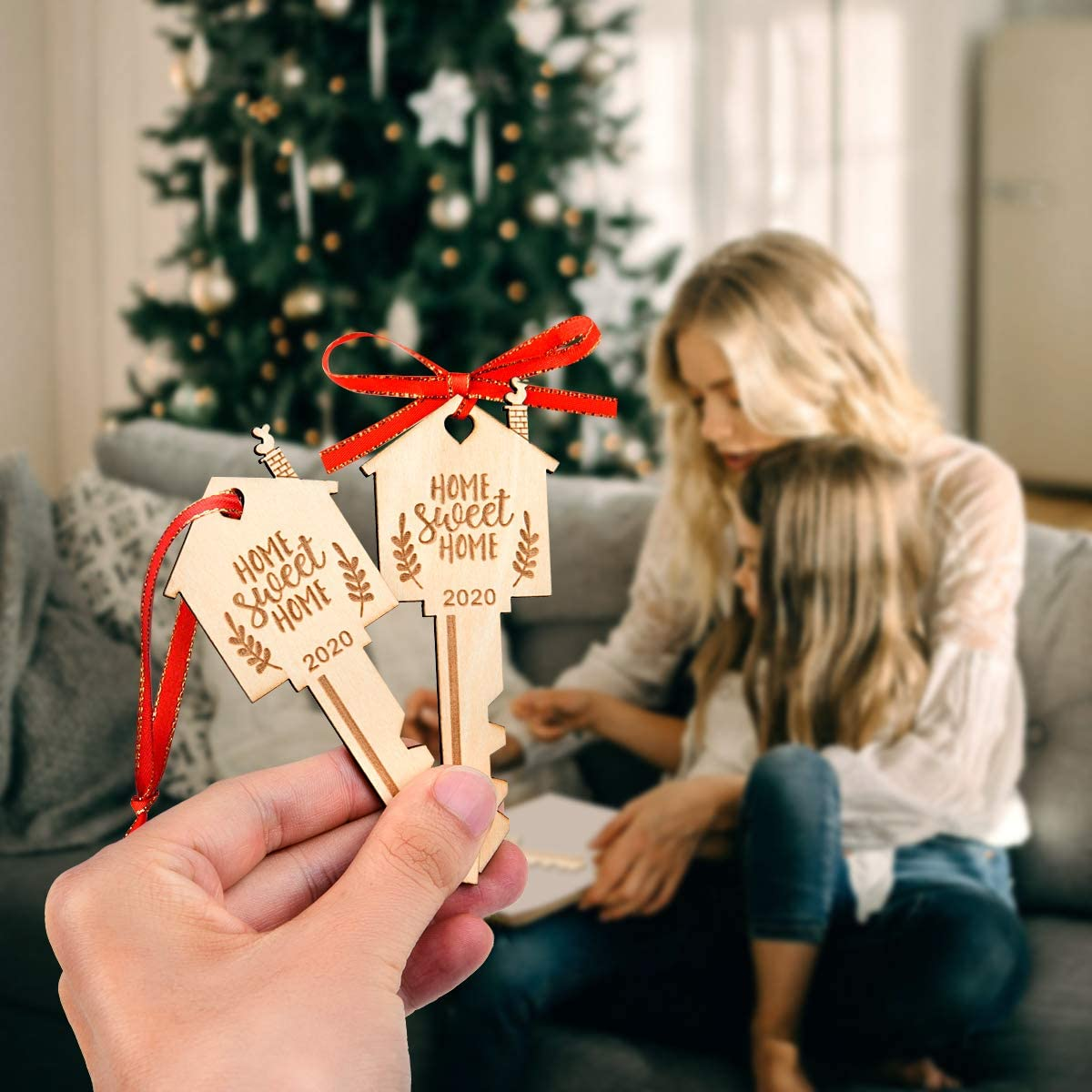 Door and Holiday Decoration LEJHOME 2 Pcs Home Sweet Home Key Wood Hanging Ornament Sign 2020 Keepsake Housewarming Gift for Home