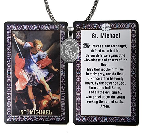 Religious Gifts Catholic - 3 Pieces Set Saint Michael Medal Stainless Steel Medal Necklace +20