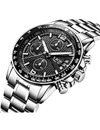 Men's Watches Dress Sports Design Calendar Quartz Chronograph Analog Watch in Black Textured Dial