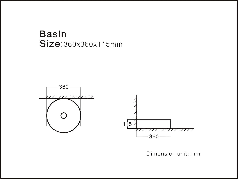 pila ba/ño Lavabo de cer/ámica sobre encimera STARBATH PLUS Plata lavamanos forma redonda de 35 x 35 x 12 cm SFIN CIL diferentes colores