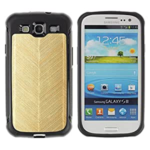 WAWU Funda Carcasa Bumper con Absorci??e Impactos y Anti-Ara??s Espalda Slim Rugged Armor -- gold chevron pattern feather wallpaper -- Samsung Galaxy S3 I9300