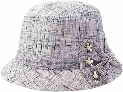 ec585d5e490 Womens Summer Linen Flax Bowknot Beads Cloche Sun Travel Bucket Boonie Top  Hat