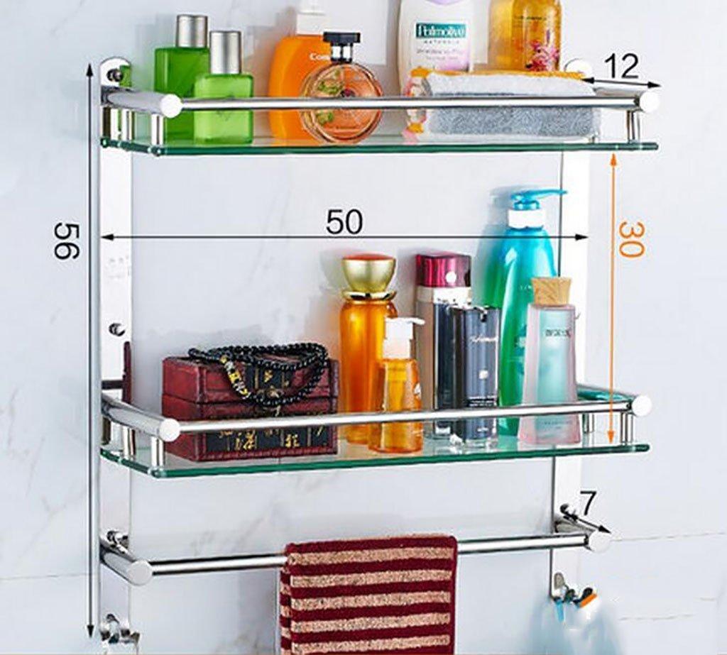 YAOHAOHAO Bathroom shelving bath rooms on a glass shelf, 304 stainless steel towel rack on a shelf, bath rooms, copy of glass on a shelf wall bracket (Color 1