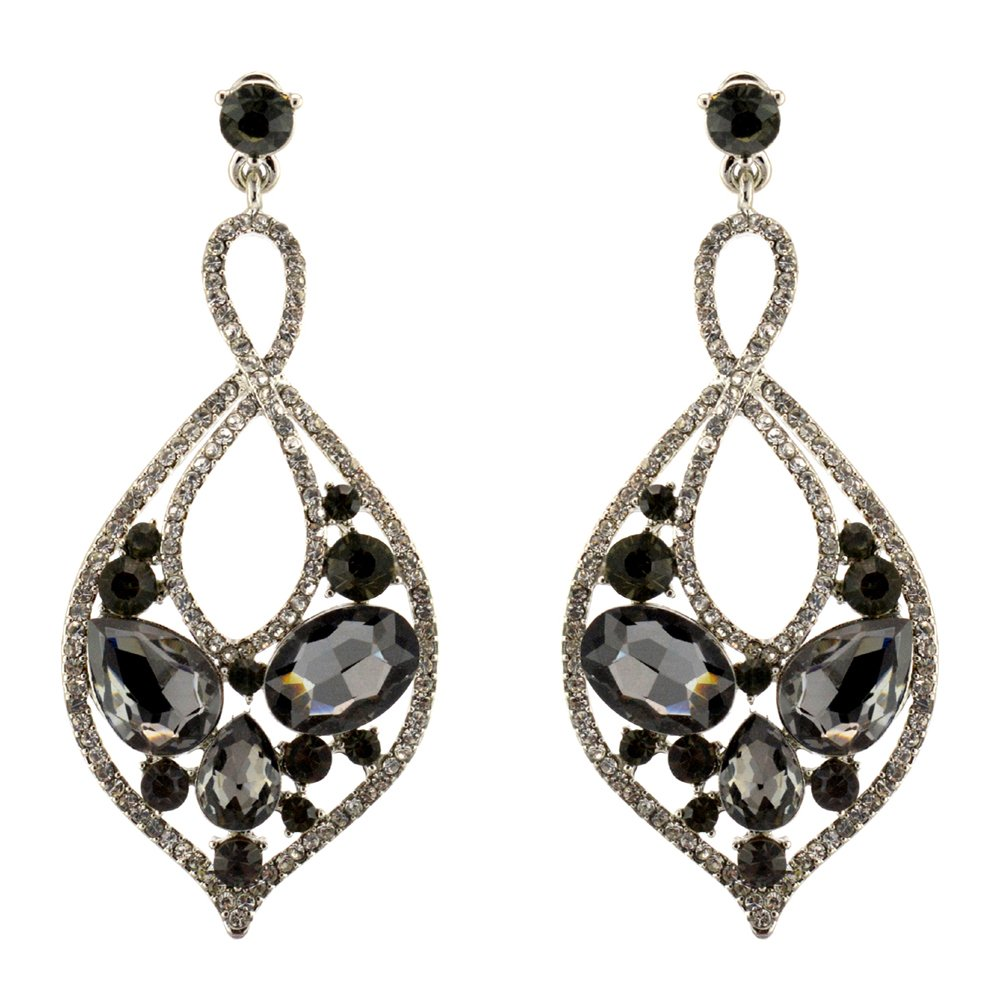 211-GRAY CHARCOAL Fashion Party & Wedding Jewelry Tear Drop Dangle Chandelier Alloy Rhinestone Earrings