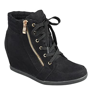 990227cddf91 Women High Top Wedge Heel Sneakers Platform Lace up Tennis Shoes Ankle  Bootie