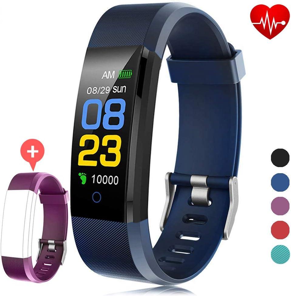 F-FISH Fitness Tracker Waterproof, Activity Tracker Watch con monitor de ritmo cardíaco, banda inteligente con monitor de presión arterial, contador de calorías, monitor de sueño, podómetro para niños