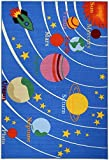 "Kids Educational Galaxy Planets Stars Blue 4'3"" x 6'1"" Children's Fun Area Rug"