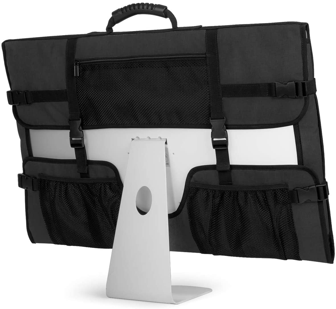 "CURMIO Travel Carrying Bag for Apple 21.5"" iMac Desktop Computer, Protective Storage Case Monitor Dust Cover with Rubber Handle for 21.5"" iMac Screen and Accessories, Black, Patent Design."