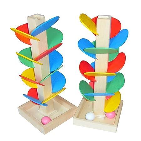 Stapelleisten Holz Spielzeug Für Kinder Bunte Bausteine Baum Ball Run Track Baby Kinder Spiel Holz Spielzeug