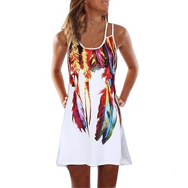67c69954a Youngii Mini Robe Femme Chic Vintage Fleur Imprimee Sling Robe d'été ...