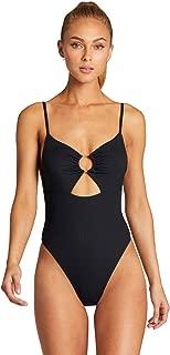 product image for Vitamin A Women's Black EcoRib Bedette Cutout High Leg One Piece Swimsuit
