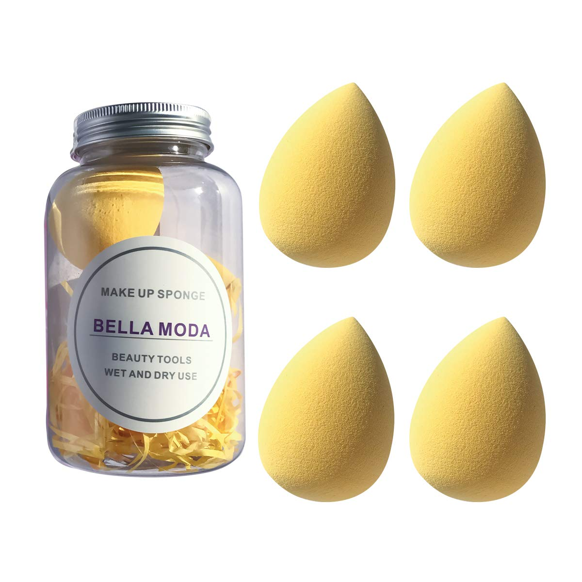 BELLA MODA 4Pcs Makeup Sponges Set Blender Beauty Wet and Dry Used for Powders and Creams Yellow Color Blending Sponges