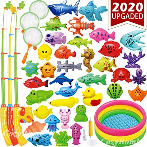 Carnival Fishing Game (CozyBomB Magnetic Fishing Toys Game Set for Kids Water Table Bathtub Kiddie Pool Party with Pole Rod Net, Plastic Floating Fish-Toddler Color Ocean Sea Animals Age 3 4 5 6)
