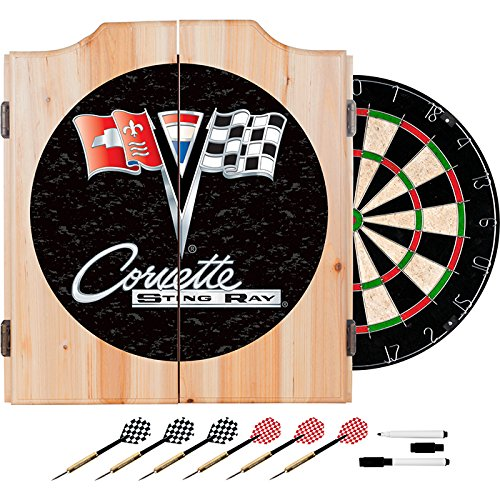 Corvette String Ray Black Design Deluxe Solid Wood Cabinet Complete Dart Set by TMG