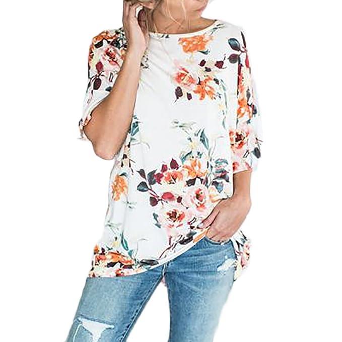 Camisetas Mujer Verano Manga Corta Basicas Blusa Blouses Elegantes  Estampadas De Flores Tops T Shirt Cuello d8f21c8acfcb8