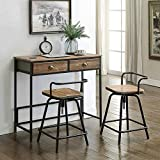 4D Concepts 162005 Urban Loft Breakfast Table with Two Swivel Stools, Rustic Natural Pine