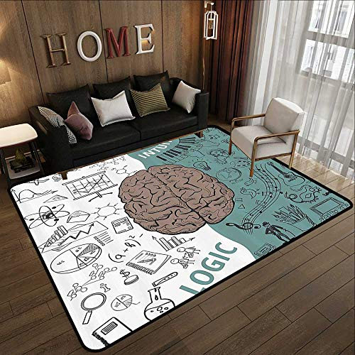 Umber Entrance - Contemporary Indoor Area Rugs,Modern Decor,Brain Image with Left and Right Side Music Logic Art Side Science Print,White Teal Umber 47