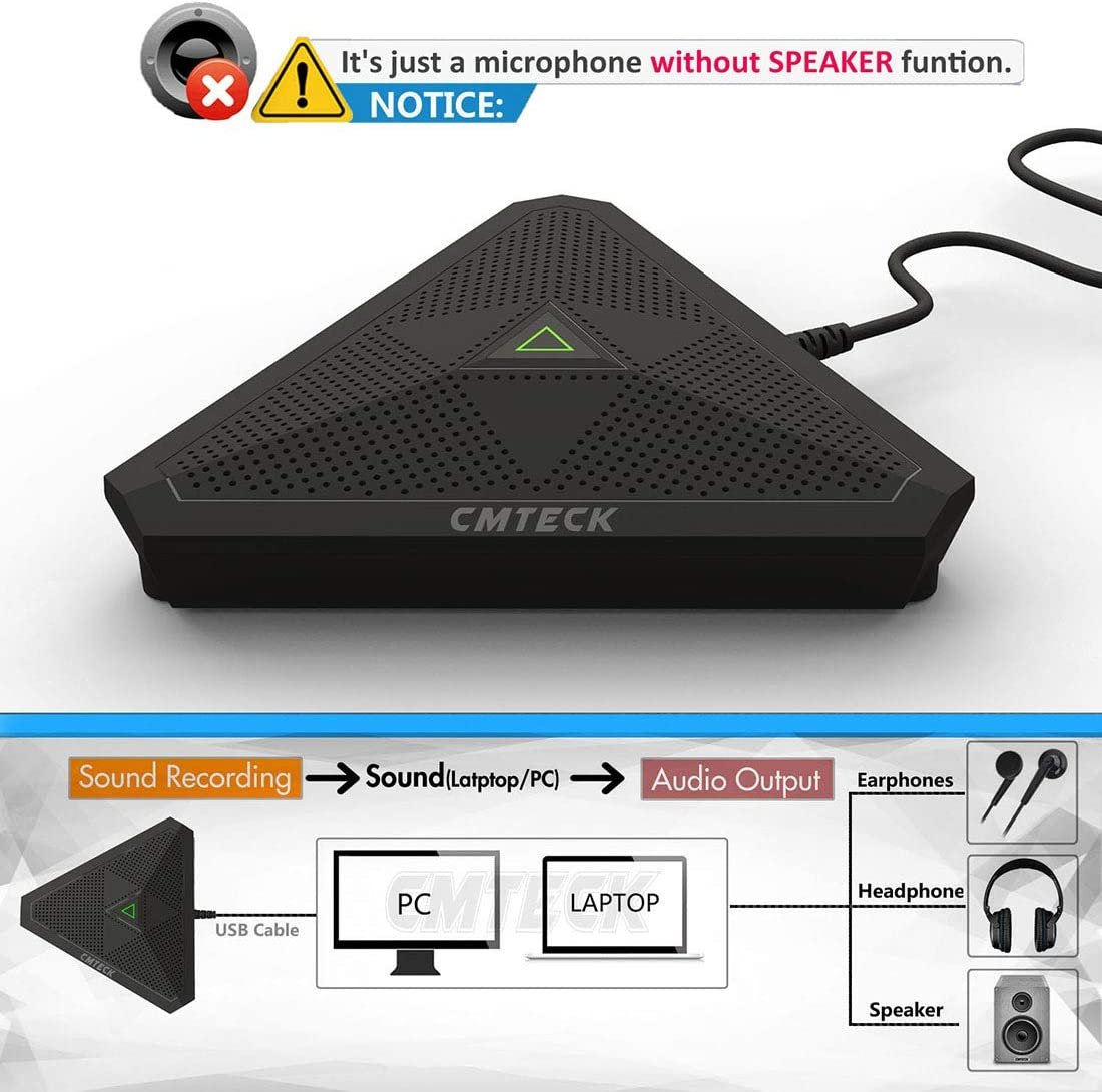 CMTECK USB Desktop Computer CM001 Microphone, Mute Button with LED Indicator, Omnidirectional Condenser Boundary Conference Mic for Recording,Streaming,Gaming,Skype (Windows/Mac): Home Audio & Theater