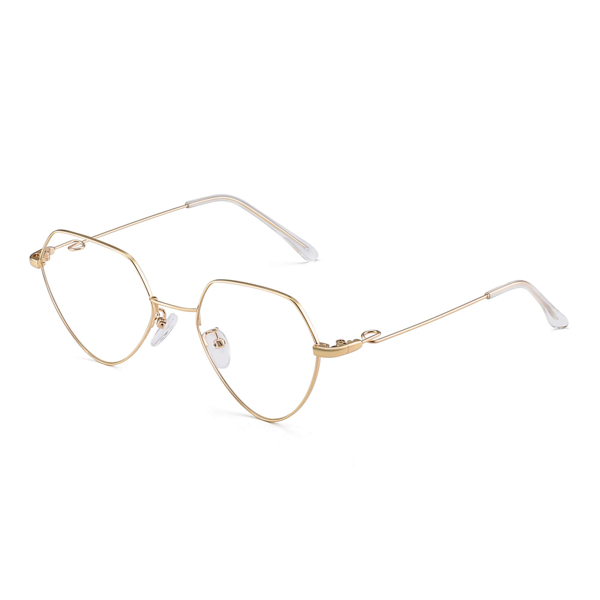 Fashion Heart Rx-able Eyeglasses Metal Wire Optical Glasses Frame for Women Gold