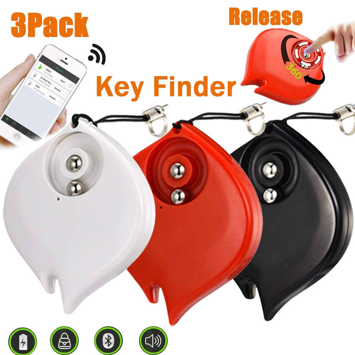 3 Pack Mini Smart Finder GPS Tracker Car Keys Wallet Dogs Cats Pet Light Anti-Lost Key Finder Alarm Locator Lost Keys Handbag APP Control Android iOS Outdoor Home Travel School Office Gifts