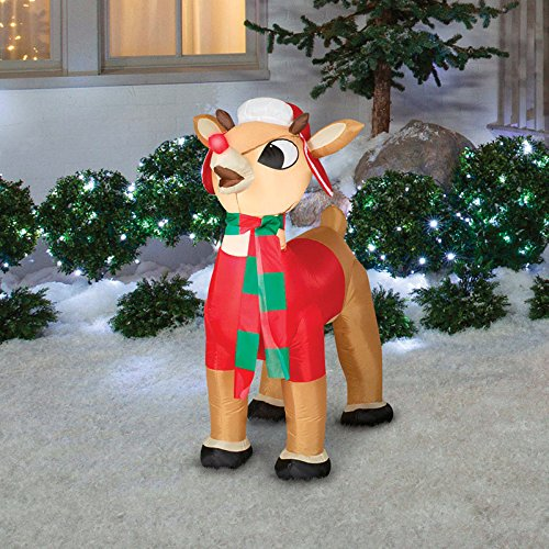 Gemmy 3.5 Foot Inflatable Rudolph With Winter Clothes (Rudolph Penguin)