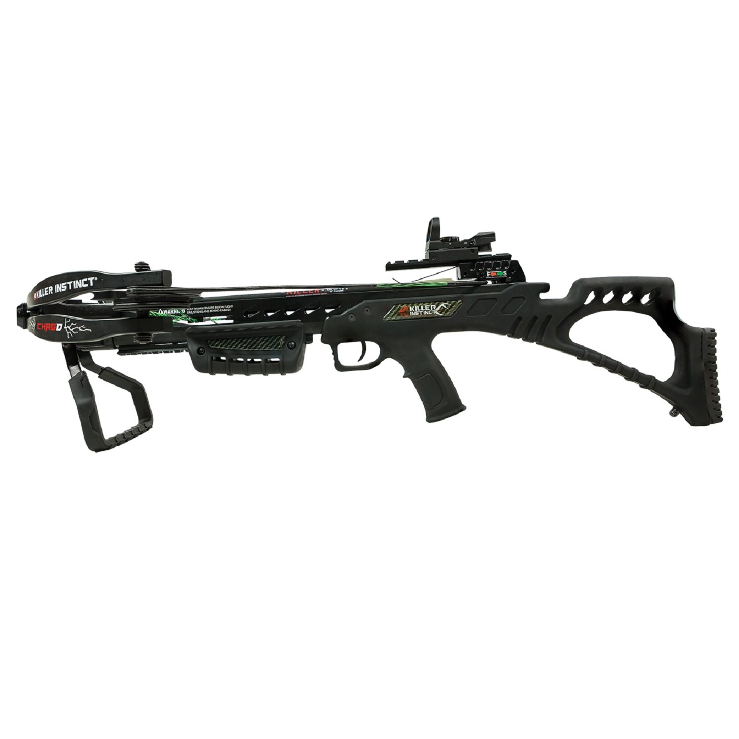 Killer Instinct CHRG'D 330 - High Performance Crossbow Package - Includes Quiver, Bolts, KI Lumix Red Dot Sight, and Rope Cocker - 3.5 lb RTT Trigger