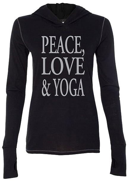 Yoga Clothing For You Ladies Peace, Love & Yoga Hoodie Tee Shirt
