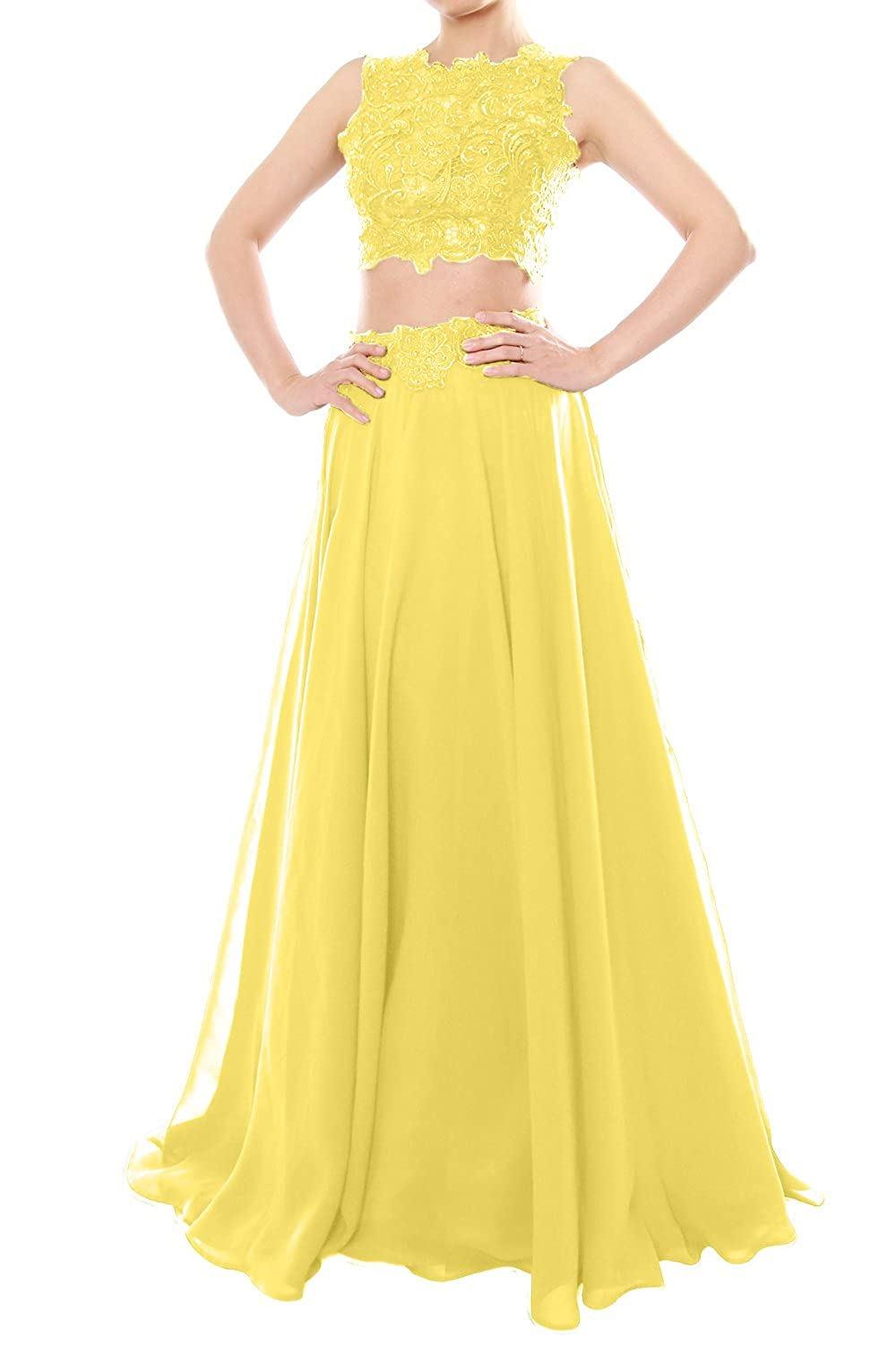MACloth Women Two Piece High Neck Lace Chiffon Long Prom Dress Formal Party Gown