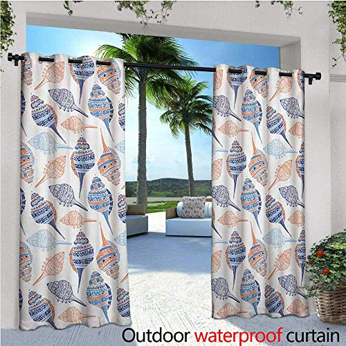 Ocean Outdoor Blackout Curtains Marine Life Themed Abstract Seashells Scallops with Bohemic Prints Outdoor Privacy Porch Curtains W72 x L96 Marigold Navy Blue and Blue