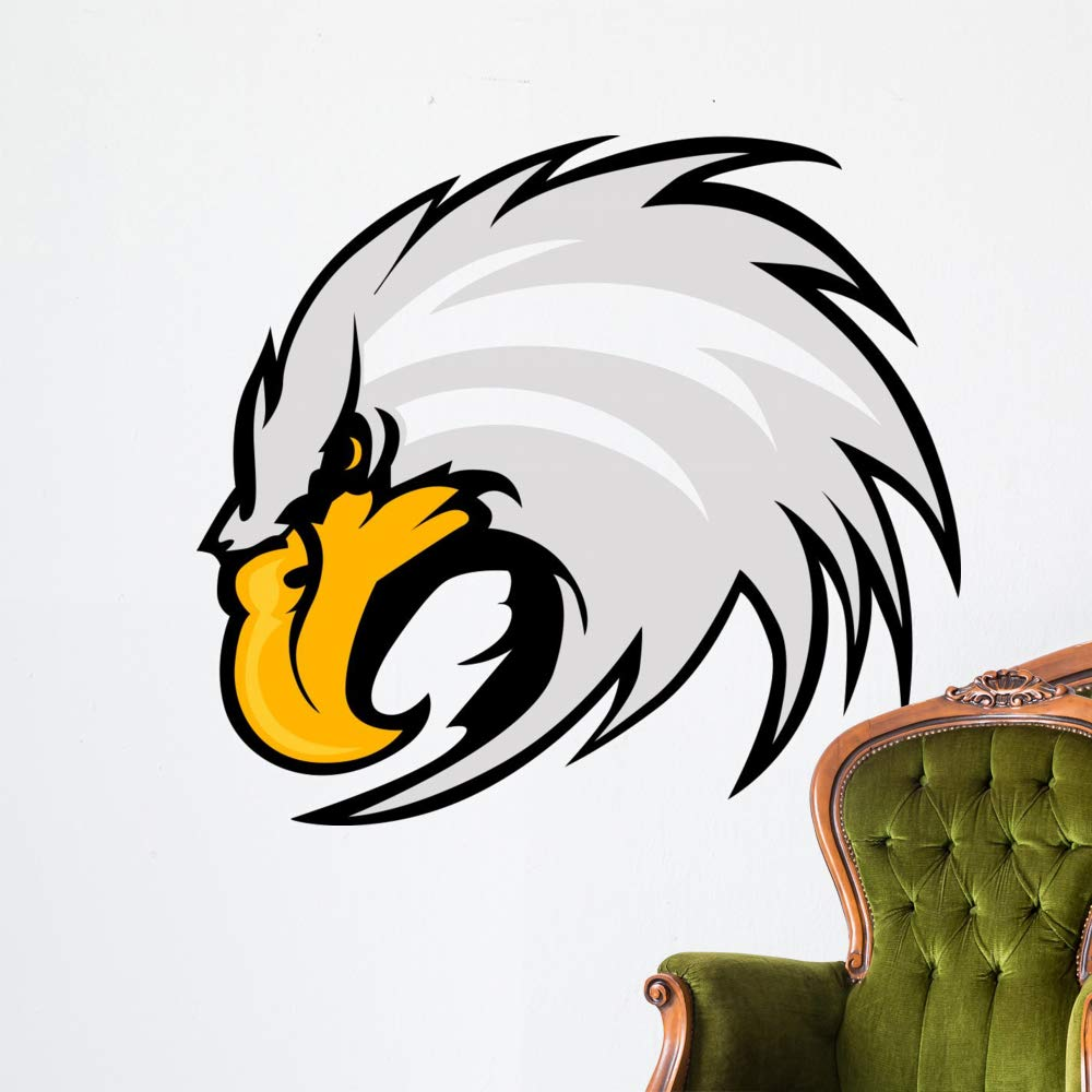 Wallmonkeys Eagle Mascot Head Vector Wall Decal Peel and Stick Animal Graphics (48 in W x 43 in H) WM306481