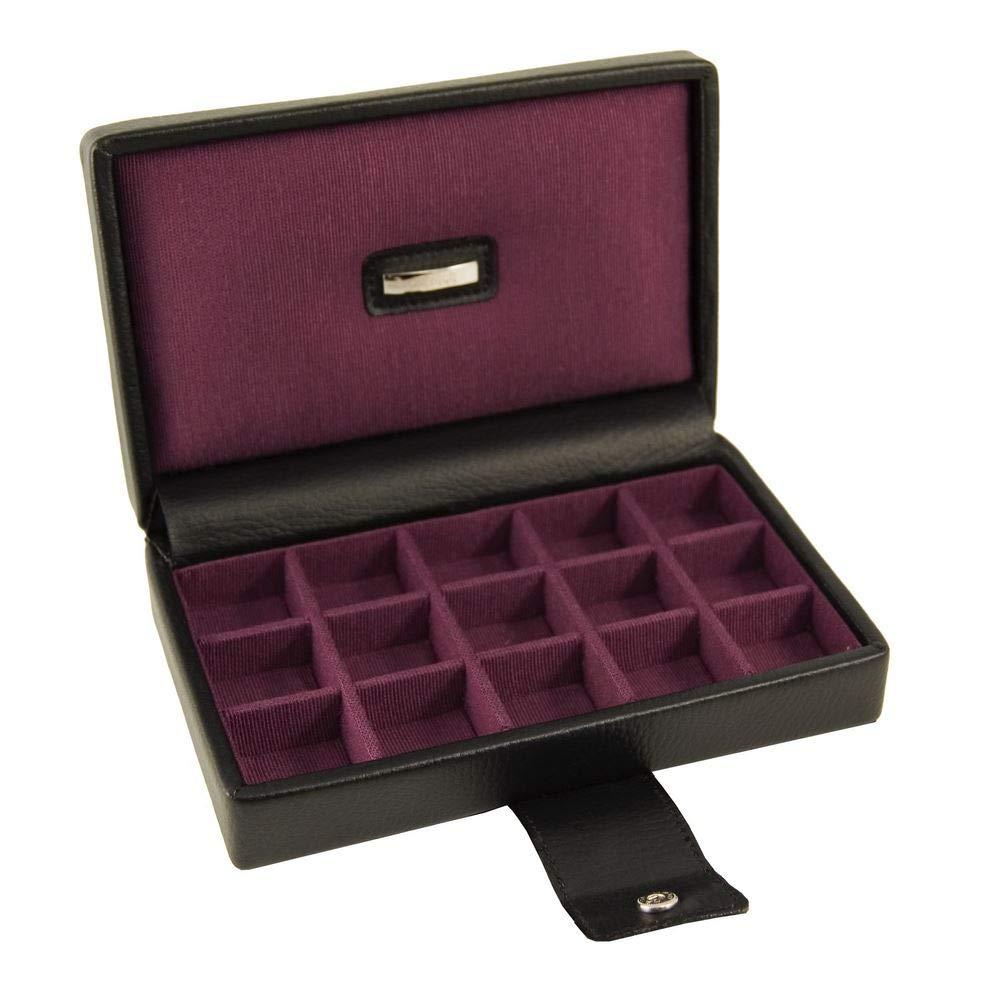 Dulwich Designs Park Lane Scatola porta gemelli classica in vera pelle da 15 pezzi, colore nero executive e fodera viola in gros grain LC Designs 70284