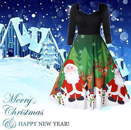 MERICAL Abito da Sera di Natale in Stile Semplice da Donna Abito Rosso con Stampa di Cappelli di Natale Vintage