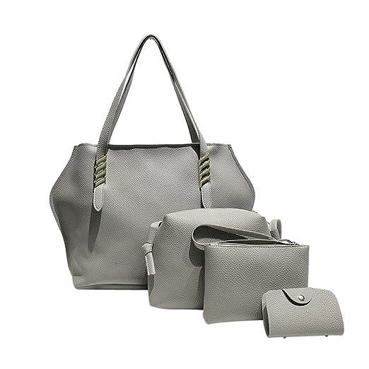 Amazon.com  WILLTOO Women Fashion Leather Handbags Purses Top-Handle  Satchel Tote Bag Shoulder Casual Crossbody Bag 4Pcs Set (Grey)  Clothing 20b76e222a02c