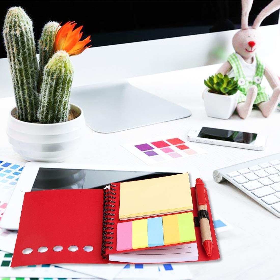 bureau cadeau de No/ël C marqueurs de page page pour l/école Lot de 4 cahiers /à spirale en papier Kraft avec pochettes et stylo et notes adh/ésives mignonnes m/émos onglets drapeaux