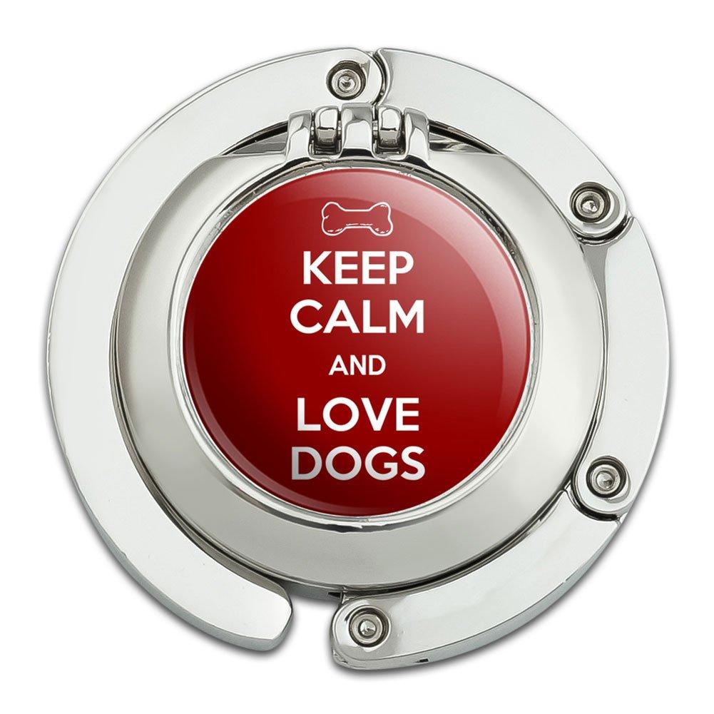 Keep Calm And Love Dogs Dog Bone Foldable Table Bag Purse Caddy Handbag Hanger Holder Hook with Folding Compact Mirror