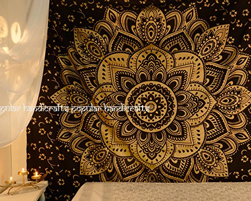 Popular Handicrafts Kp724 The Passion Gold Ombre Tapestry Indian Mandala Wall Art, Hippie Wall Hanging, Bohemian Bedspread(215x230cms)Black