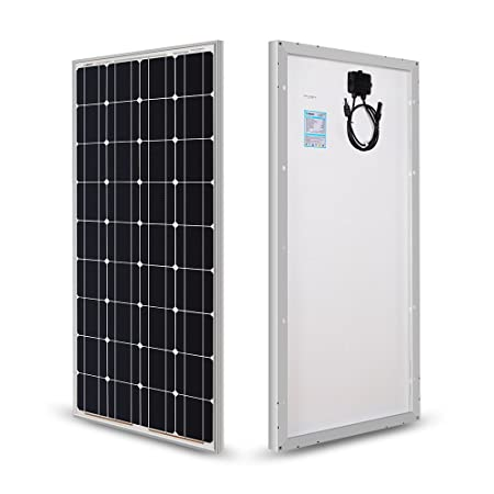 The Renogy 100 Watt 12 Volt Monocrystalline Solar Panel vertically stood up