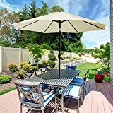 UHINOOS Patio Umbrella, 9 Ft Durable Alloy and Ribs outdoor umbrella,  Made of 100% durable polyester fabric, fade resistant,Water proof patio table umbrella,Ivory/Beige