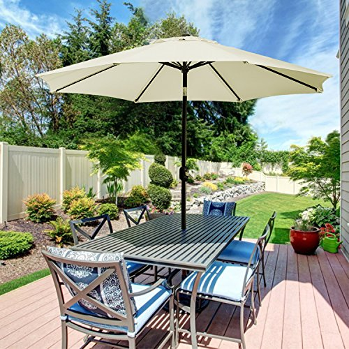 UHINOOS Patio Umbrella, 9 Ft Durable Alloy and Ribs outdoor umbrella,  Made of 100% durable polyester fabric, fade resistant,Water proof patio table umbrella,Ivory/Beige by UHINOOS
