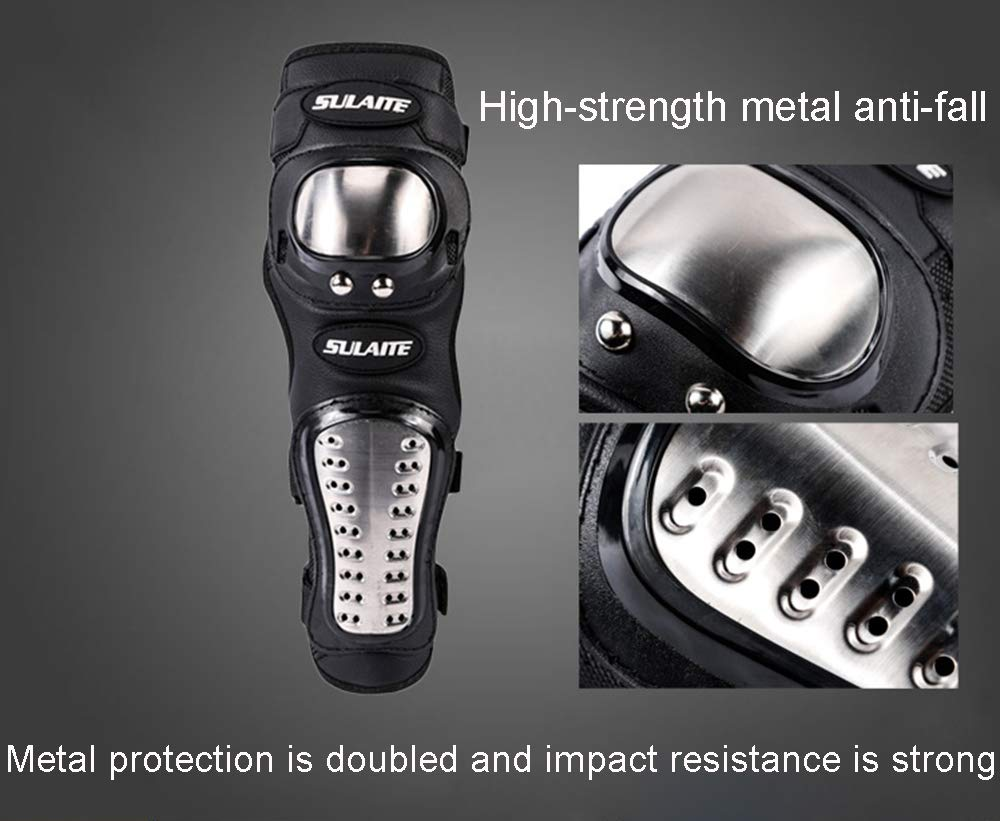 4pcs ZHXYY Motocross Knee Guards Elbow Pads,Off-road Riding Stainless Steel Protective Gear Safety Motorcycle Protector Kit for Outdoor Sports Bike Skateboard